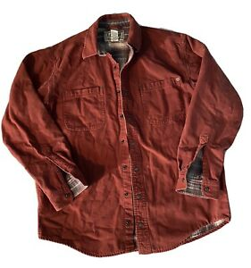 Med LL Bean Flannel Lined Hurricane Shirt Work Chore Button Down Snap Rust OMS94