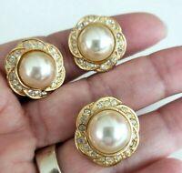 Vtg ROMAN Pearl Necklace ENHANCER Clip Earrings Set Clear Rhinestone Gold Tone