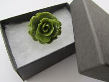 Handmade Unusual Gift Idea Gorgeous Olive Deep Green Flower Brooch Pin - Boxed