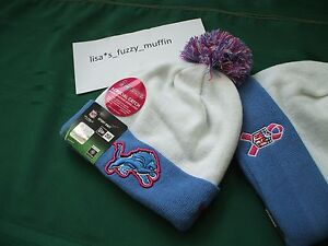 Detroit Lions New Era knit pom hat beanie RARE BCA Crucial Catch NFL On Field!