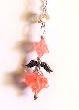 Handcrafted  MERKABAH  Cherry Quartz Crystal  Angel  Pendant Boxed Gift Chain