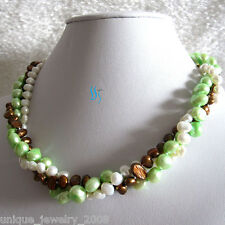 "Baroque Freshwater Pearl Necklace D 18"" 4-9mm 3Row Multi Color"