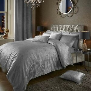 SILVER CRUSHED VELVET DUVET QUILT COVER WITH 2 PILLOW COVERS LUXURY QULAITY WARM