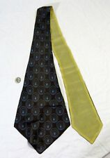 "Vintage Ladies Scarf Cravat Tie Wrap Leaves Circles 50"" Long Fab  Mod"