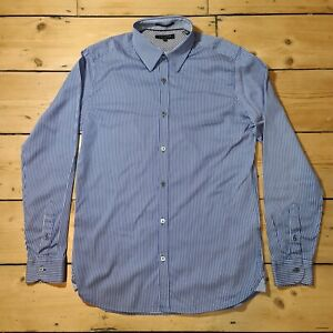 Ted Baker Mens Shirt Blue And White Pinstriped Size 3 Collar 15.5 Chest 38