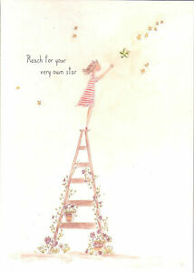 Papyrus Graduation Card - Reach for your Very Own Star = Girl on Ladder, GOLD
