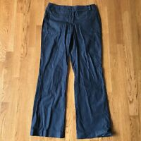 Ann Taylor Loft Julie Cotton wide leg  trouser dress pants size 6 Navy Blue