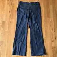 Ann Taylor Loft Julie Cotton wide leg  trouser dress pants size 6 Navy Blue