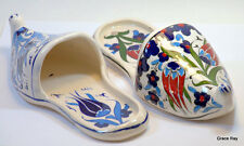 Key Holders Handpainted Ceramic Pottery Shoes Wall Plaque Blue Red For Her&Him