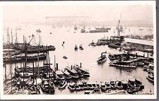 VINTAGE RPPC 1920'S TOKYO JAPAN HARBOR SHIPS BOATS SAILBOATS OLD PHOTO POSTCARD