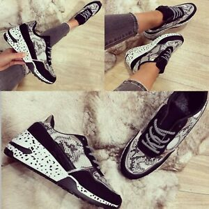 WOMENS LADIES SNAKE CHUNKY TRAINERS LACE UP SNEAKERS CASUAL COMFY SHOES