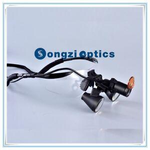 2.5X Black Sport Frame Binocular Dental Loupes With Filp-up Yellow Filter Light