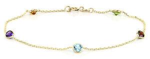 14K Yellow Gold Round Gemstones Anklet Bracelet 11 Inches