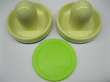 """2 NEW Air Hockey Mallets 3 3/4"""" White and Fluorescent Green Puck 3 1/4"""""""