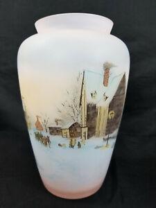 Fenton PINK SATIN Hand Painted Winter Scene Gloria Finn Art Signed Glass Vase