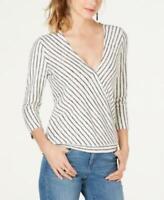 INC Women's 3/4 Sleeve Striped Surplice Top (White, XL)