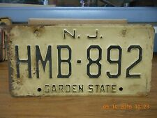 "NEW JERSEY LICENSE PLATE ""HMB-892""  (1) PLATE USED"