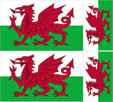 4 X WELSH FLAG VINYL CAR VAN IPAD LAPTOP STICKER WALES