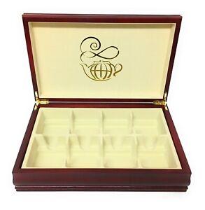 Bigelow Tea 8 Compartment Wooden Tea Chest Caddy Mahogany Color 8 Compartments