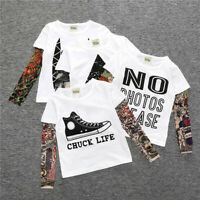 Toddler Kids Baby boys Outfits Clothes long sleeve stitching cool T-shirt
