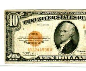 """$10 """"GOLD CERTIFICATE"""" 1928  $10 """"GOLD CERTIFICATE"""" $10 1928 RARE NOTE! CRISPY!!"""