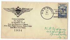 Transocean Rcd #1200, VP-10 Related Mass Hawaii Flight  USS Wright 1/10-11/34