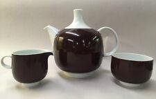 ROSENTHAL STUDIO LINE PLUS MID CENTURY MODERN BROWN WHITE TEA SERVICE 3 PIECES