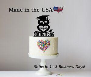 Wise Owl Graduation Cake Topper, Mortarboard Owl Graduate, Personalized - LT1290