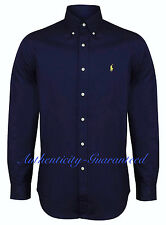Polo Ralph Lauren Shirt Mens Navy Poplin Cotton Custom Fit 100 Genuine Large