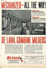 1953 Print Ad of De Laval Separator Co Combine Milkers Mechanized All The Way