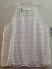 Women INC International Concepts White Stripped Keyhole Halter Top Sz PXL