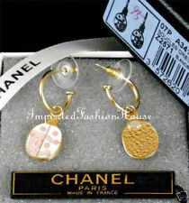 AUTHENTIC CHANEL WHITE PINK LADYBIRD LADYBUG CC LOGO GOLD DANGLE EARRINGS NEW