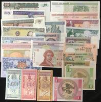 World Banknotes Lot Set 25 Pcs All UNC
