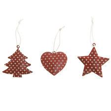 9x Festive Red & White Polka Dot Star, Heart, Christmas Tree, Hanging Decoration