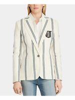 RALPH LAUREN $275 Womens New 0175 Beige Pinstripe Blazer Jacket 8 B+B