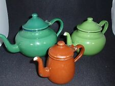 Set of 3 Enameled Tin Teapots - 3 sizes - 1 is Yugoslavia