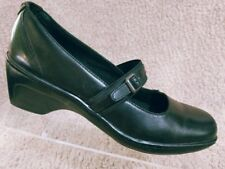 Clarks Women's Black Leather Strap Mary Jane Clogs Shoes Size 6.5 M