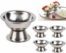 4x Ice Cream Sundae Stainless Steel Footed Appetizer Dessert Fruit Cocktail Cup