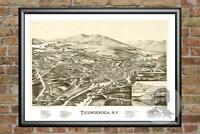 Old Map of Ticonderoga, NY from 1891 - Vintage New York Art, Historic Decor