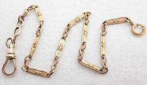 """ANTIQUE 11"""" GOLD FILLED POCKET WATCH CHAIN"""