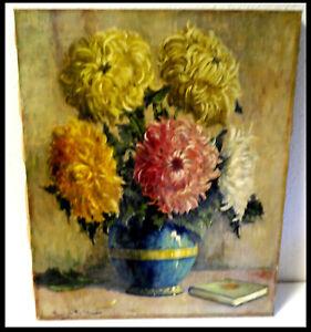 Orig alt Blumen Ölgemälde Signiert: Paul Hampel München 1910 Leinwand Vase Buch