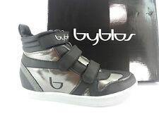 I16-BB SCARPE DONNA 34 sneakers alte BYBLOS NERO 100% PELLE  zeppa alta 5 cm