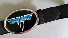 VAN HALEN Rock  Epoxy PHOTO MUSIC BELT BUCKLE & Black Bonded Leather Belt