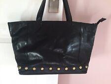 Rowallan Black Leather Handbag. Studded soft Leather. Good Condition