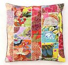 """INDIAN CUSHION COVER PILLOW CASE KANTHA PATCHWORK-FLORAL ETHNIC THROW DECOR 16"""""""