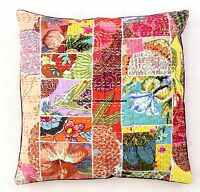 INDIAN CUSHION COVER PILLOW CASE KANTHA PATCHWORK-FLORAL ETHNIC THROW DECOR 16""