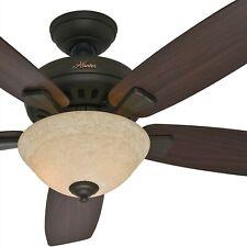 Hunter Fan 52 inch New Bronze Finish Ceiling Fan w/ Amber Scavo Glass Light Kit