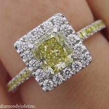 GIA 1.55CT ESTATE FANCY YELLOW RADIANT DIAMOND ENGAGEMENT WEDDING RING PLAT