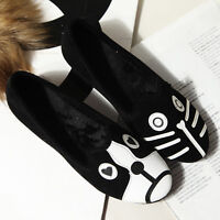 Women Flat With Cute Cartoon Cat Dog Sports Casual Single Shoes Loafers Leather