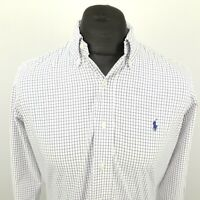 Ralph Lauren Mens Shirt MEDIUM Long Sleeve White Custom Fit Check Cotton